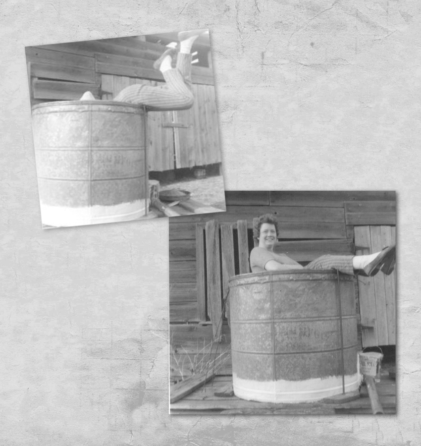 Thelma cleaning the sap tank - circa 1960